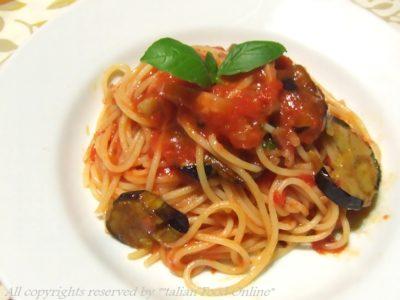 ナスとパンチェッタのトマトソーススパゲッティ