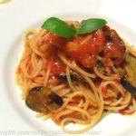 茄子とパンチェッタのトマトソース・スパゲッティ【作り方・パスタレシピ】Spaghetti con Melanzane e Pancetta